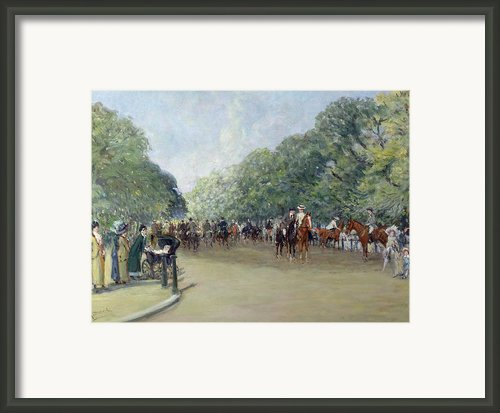 View Of Hyde Park With Figures On Rotten Row  Framed Print By Albert Jnr Ludovici