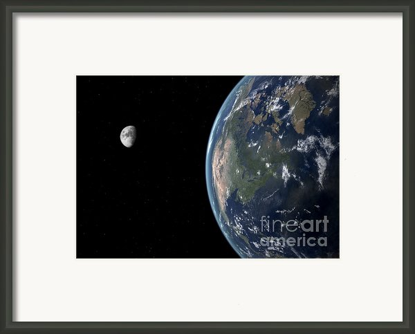 View Of North America With Rise In Sea Framed Print By Walter Myers