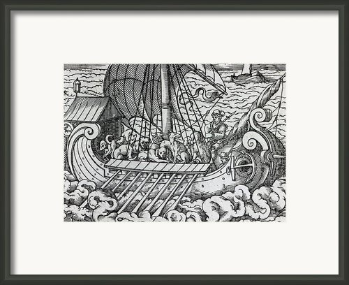 Viking Ship Framed Print By German School