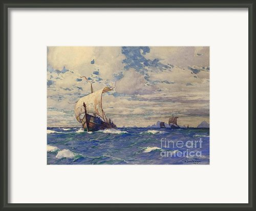 Viking Ships At Sea Framed Print By Pg Reproductions