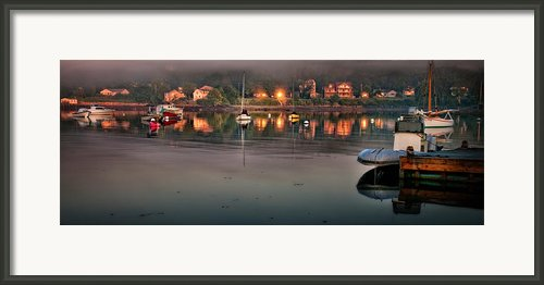 Village Reflections From Southwest Harbor Framed Print By Thomas Schoeller