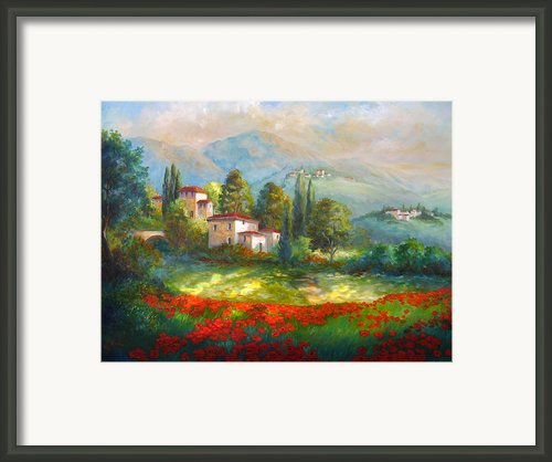 Village With Poppy Fields  Framed Print By Gina Femrite