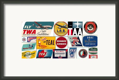 Vintage Airlines Logos Framed Print By Don Struke