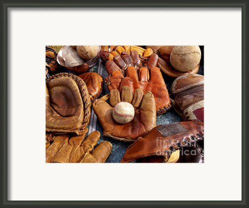Vintage Baseball Framed Print By Art Block Collections
