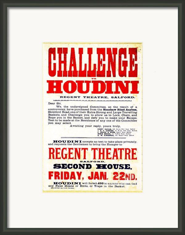 Vintage Challenge Houdini Poster Framed Print By Wingsdomain Art And Photography