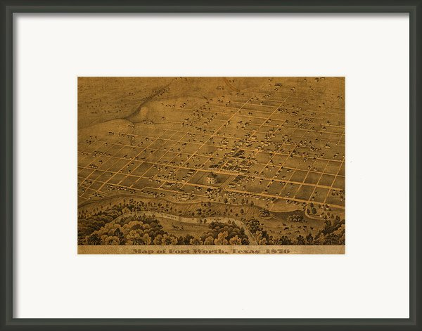 Vintage Fort Worth Texas In 1876 City Map On Worn Canvas Framed Print By Design Turnpike