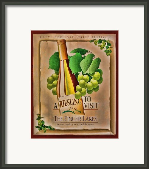 Vintage Wine Poster Framed Print By Linda Phelps