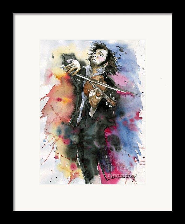 Violine Player. Framed Print By Yuriy  Shevchuk