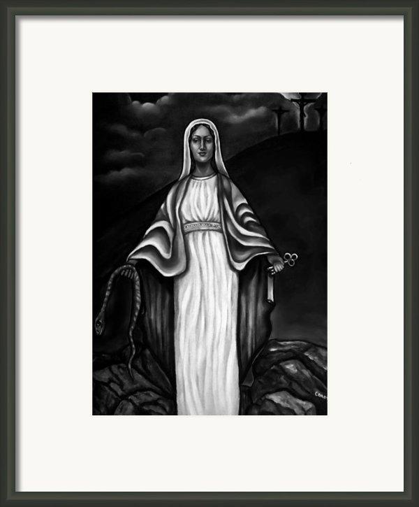 Virgen Mary In Black And White Framed Print By Carmen Cordova