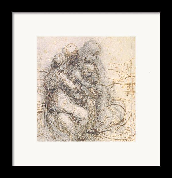 Virgin And Child With St. Anne Framed Print By Leonardo Da Vinci