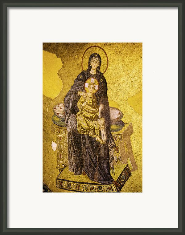 Virgin Mary With Baby Jesus Mosaic Framed Print By Artur Bogacki
