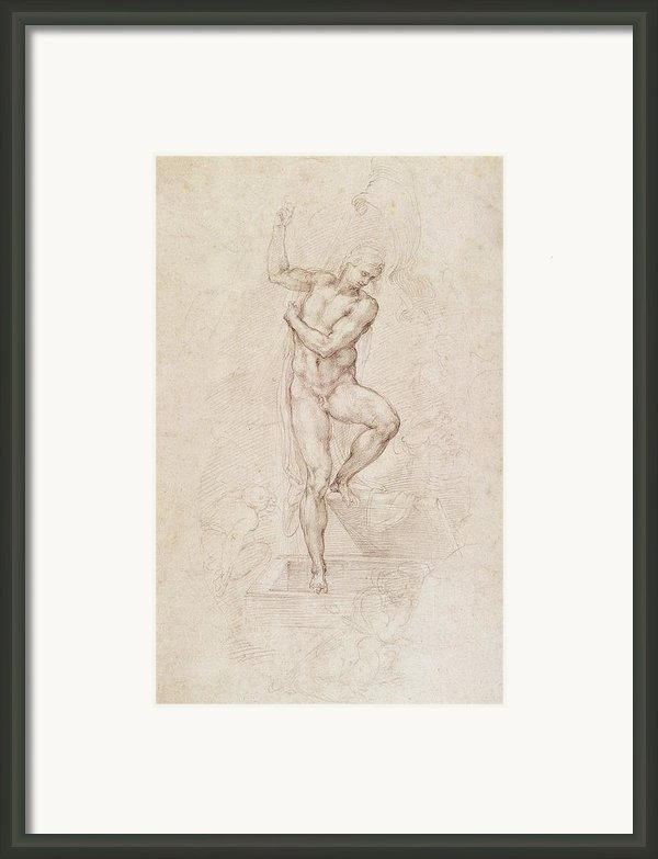 W53r The Risen Christ Study For The Fresco Of The Last Judgement In The Sistine Chapel Vatican Framed Print By Michelangelo Buonarroti