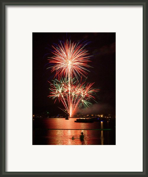 Wading View Of Fireworks Framed Print By Mark Miller