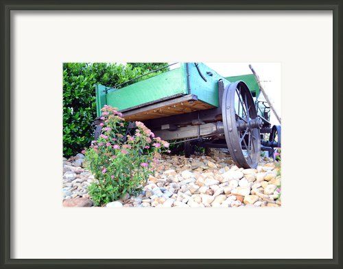 Wagon And Blooms Framed Print By Larry Bishop