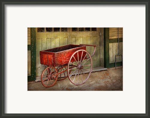 Wagon - That Old Red Wagon  Framed Print By Mike Savad