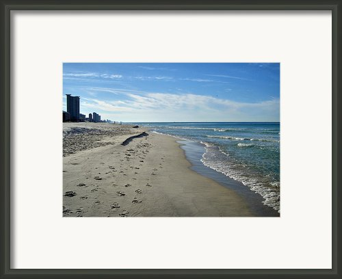 Walking The Beach Framed Print By Sandy Keeton