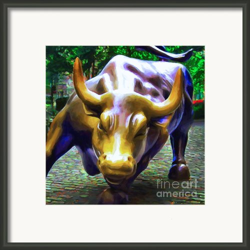 Wall Street Bull V2 - Square Framed Print By Wingsdomain Art And Photography