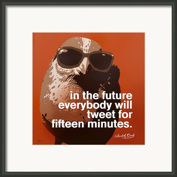 Warhol Bird Tweet For Fifteen Minutes Parody Framed Print By Anthony Ross