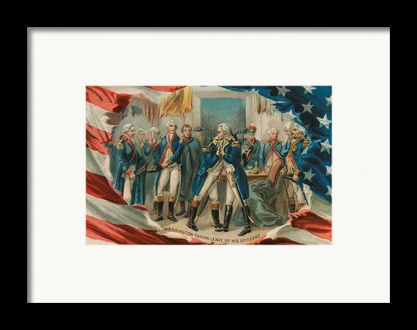 Washington Taking Leave Of His Officers Framed Print By Anonymous