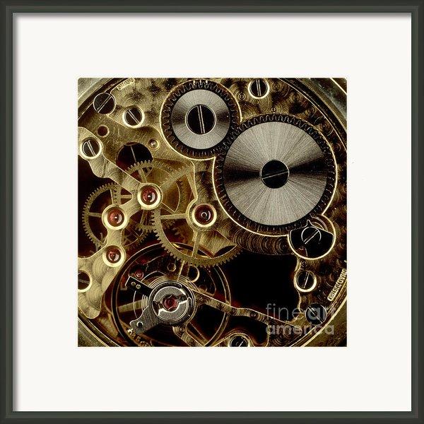 Watch Mechanism. Close-up Framed Print By Bernard Jaubert