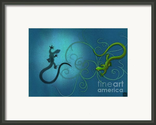 Water Colour Print Of Twin Geckos And Swirls Duality Framed Print By Sassan Filsoof