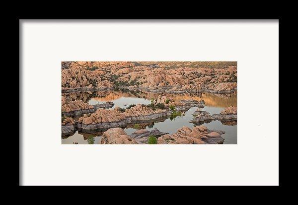 Watson Lake Sunset Framed Print By Angie Schutt