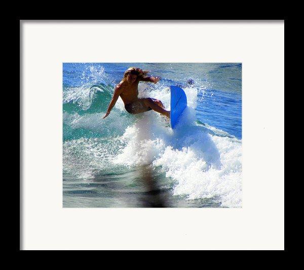 Wave Rider Framed Print By Karen Wiles