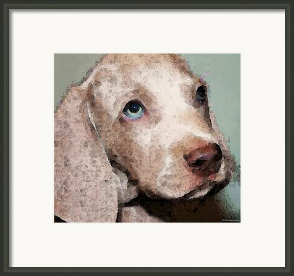 Weimaraner Dog Art - Forgive Me Framed Print By Sharon Cummings