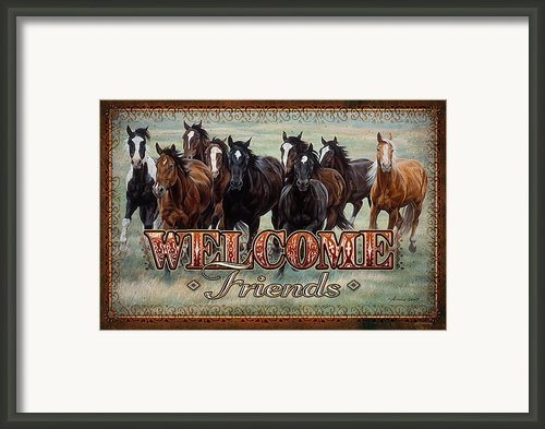 Welcome Friends Horses Framed Print By Jq Licensing