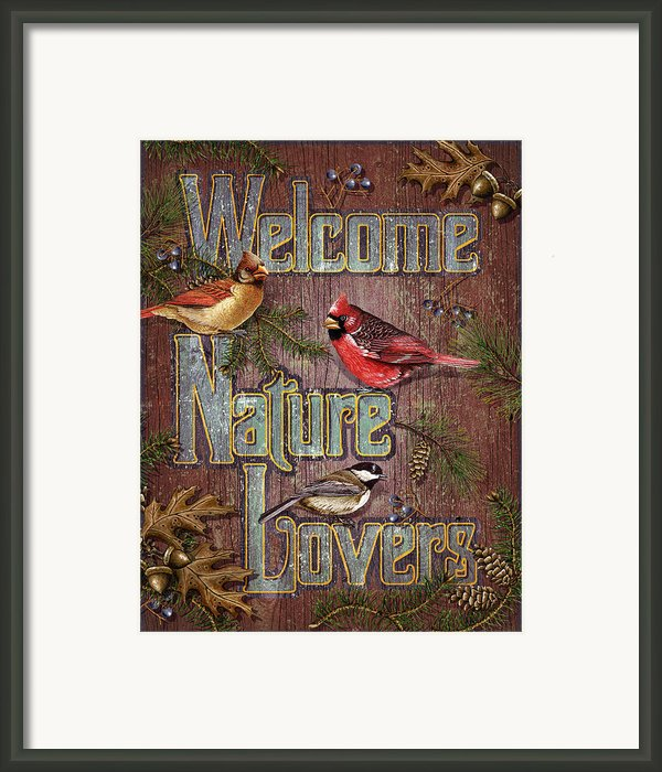 Welcome Nature Lovers 2 Framed Print By Jq Licensing