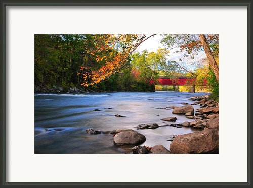 West Cornwall Covered Bridge- Autumn  Framed Print By Thomas Schoeller