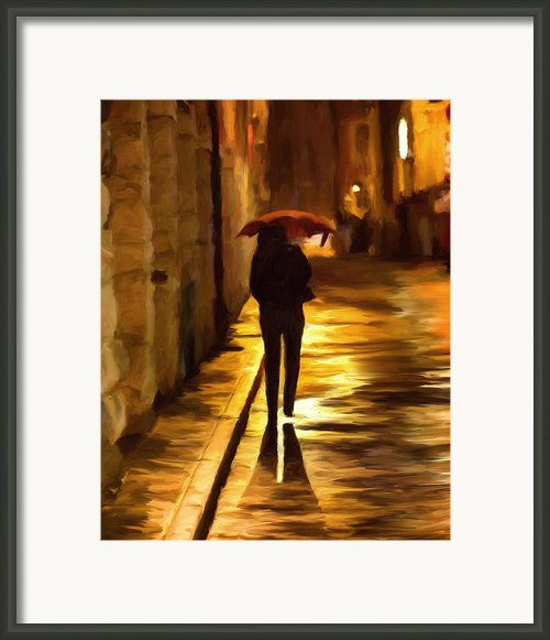 Wet Rainy Night Framed Print By Michael Pickett