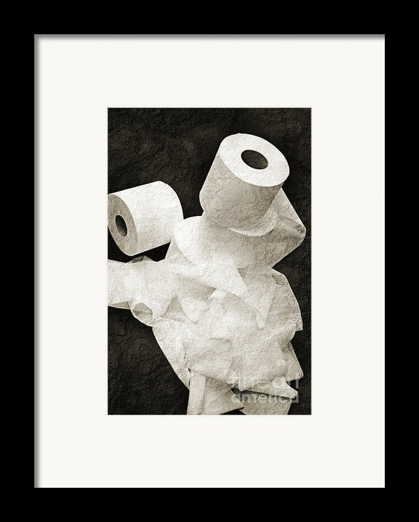 Where Is My Spare Roll Bw V1 Framed Print By Andee Design