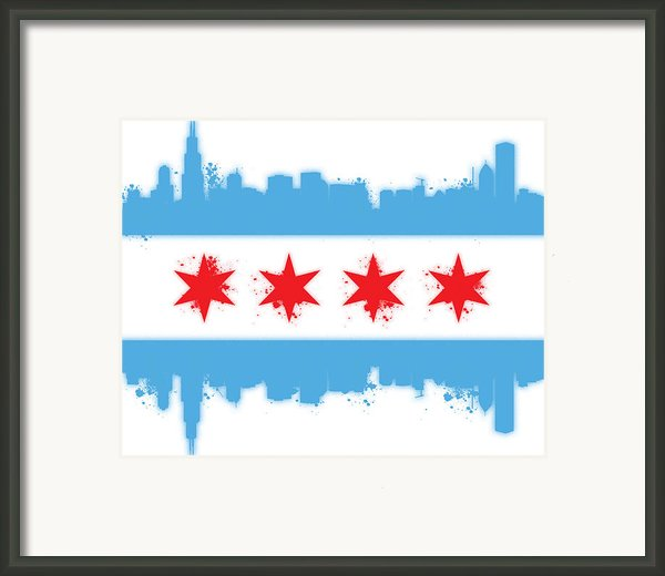 White Chicago Flag Framed Print By Mike Maher