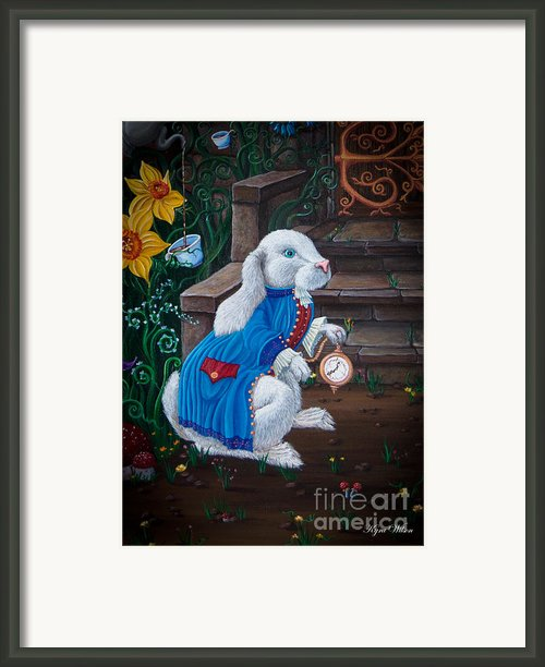White Rabbit Black Framed Print By Kyra Wilson