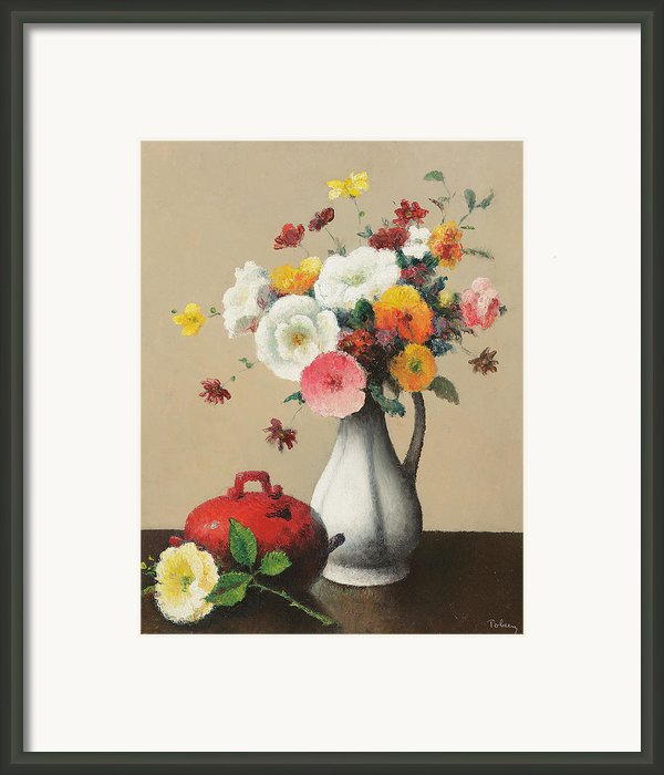 White Vase And Red Box Framed Print By Felix Elie Tobeen