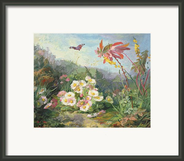 Wild Flowers And Butterfly Framed Print By Jean Marie Reignier