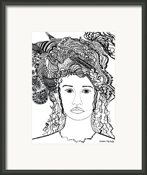 Wild Hair Portrait In Shapes And Lines Framed Print By Lenora  De Lude