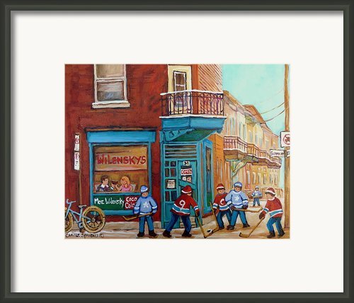 Wilensky Montreal-fairmount And Clark-montreal City Scene Painting Framed Print By Carole Spandau