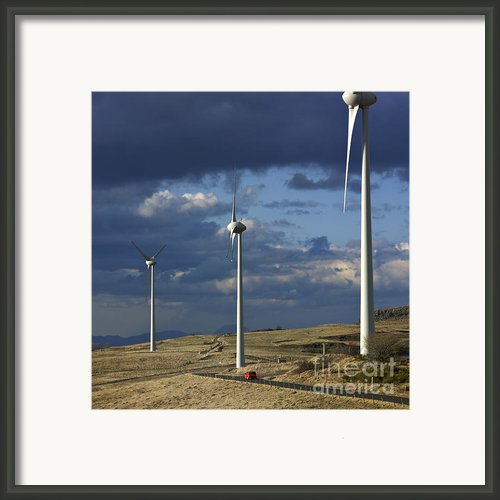 Wind Turbines. Region Auvergne. France Framed Print By Bernard Jaubert