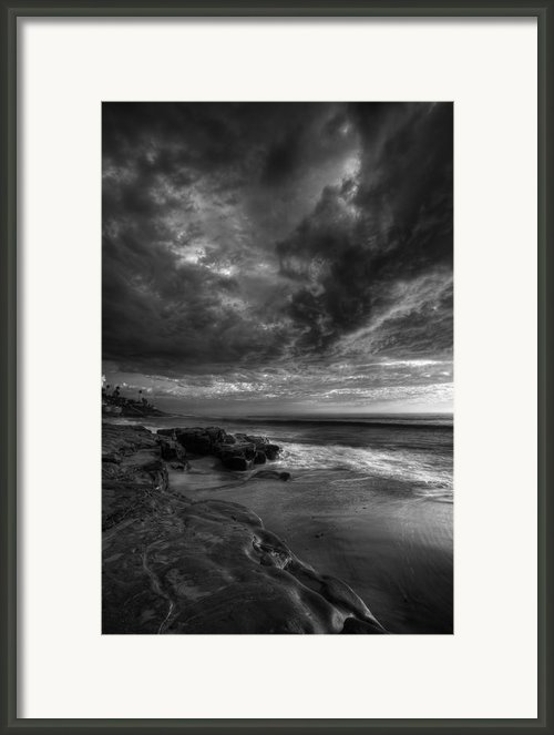 Windnsea Stormy Sky Bw Framed Print By Peter Tellone