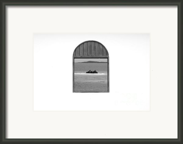 Window View Of Desert Island Puerto Rico Prints Black And White Framed Print By Shawn Obrien