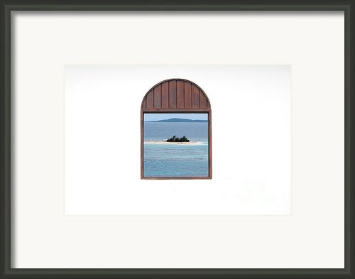 Window View Of Desert Island Puerto Rico Prints Framed Print By Shawn Obrien