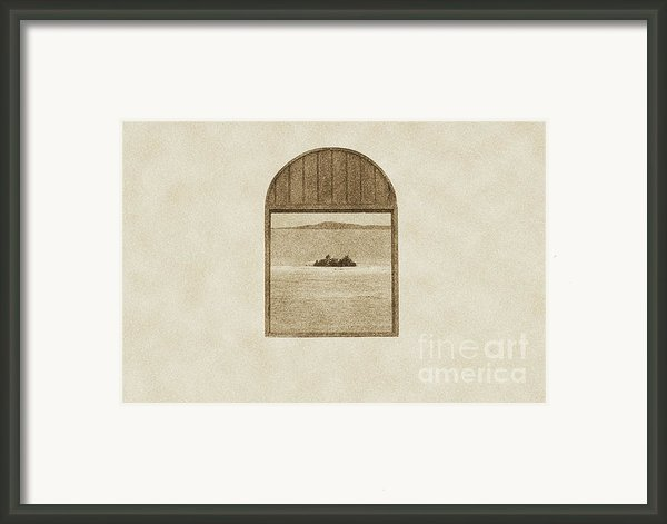 Window View Of Desert Island Puerto Rico Prints Vintage Framed Print By Shawn Obrien