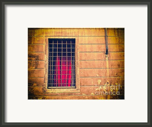 Window With Grate And Red Curtain Framed Print By Silvia Ganora