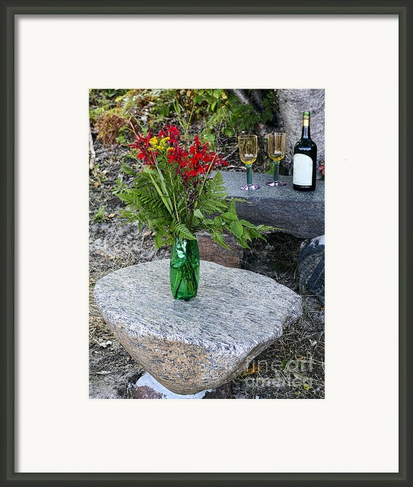 Wine And Red Flowers On The Rocks Framed Print By Les Palenik