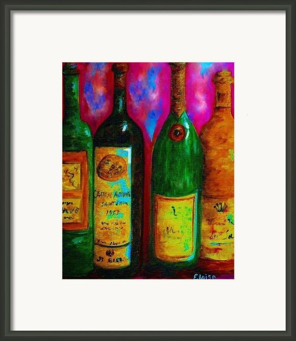 Wine Bottle Quartet On A Blue Patched Wall Framed Print By Eloise Schneider