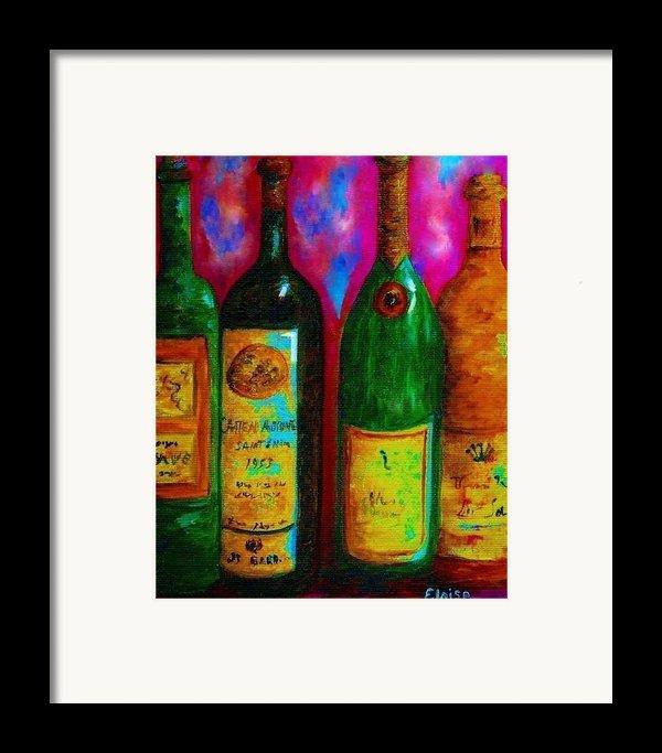 Wine Bottle Quartet On A Blue Patched Wall Framed Print By Eloise Schneider