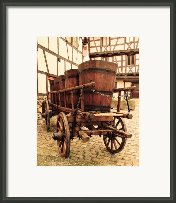 Wine Cart In Alsace France Framed Print By Greg Matchick