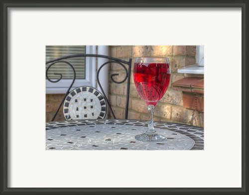 Wine Glass On Table Al Fresco Framed Print By Fizzy Image